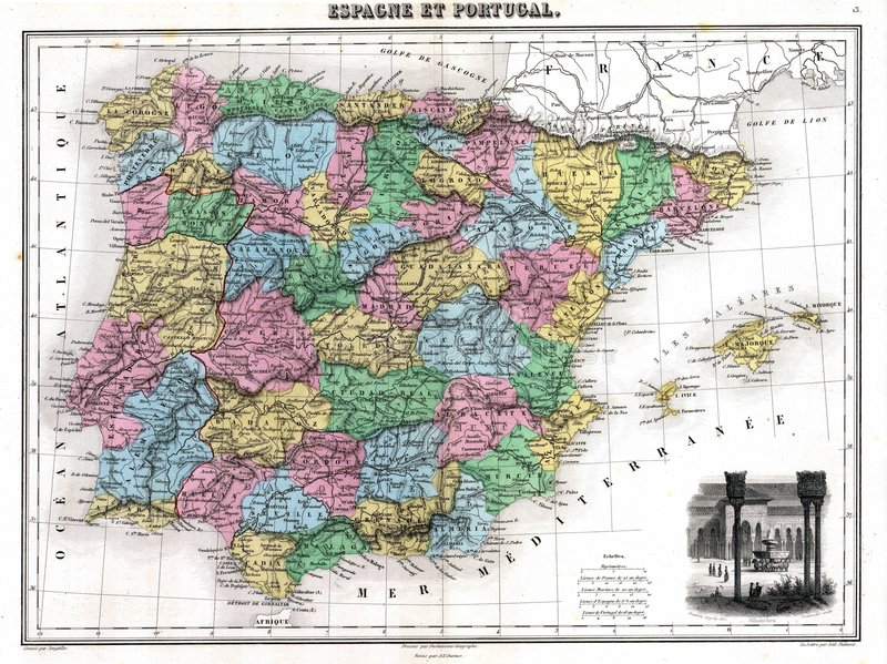 Antique 1870 Map of Spain and Portugal royalty free illustration