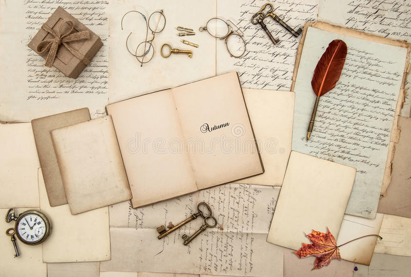 Antique accessories old letters gift box watch keys Autumn background royalty free stock image