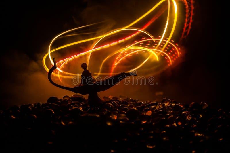 Antique Aladdin arabian nights genie style oil lamp with soft light white smoke, Dark background stock illustration
