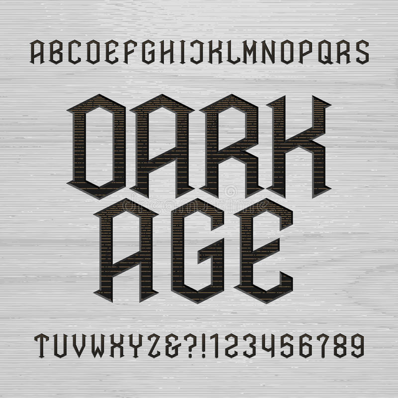 Antique alphabet vector font. Distressed type letters symbols and numbers on a wooden background. vector illustration