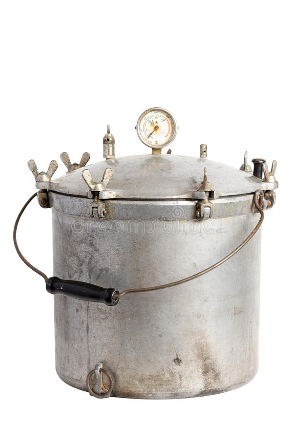 Antique Aluminum Pressure Cooker / Pressure Canner royalty free stock photography