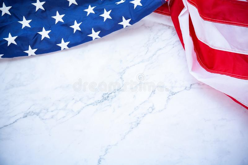 Antique America flag waving pattern background in red blue color concept for USA 4th july independence day, symbol of patriot. Freedom on white marble. Glory royalty free stock image