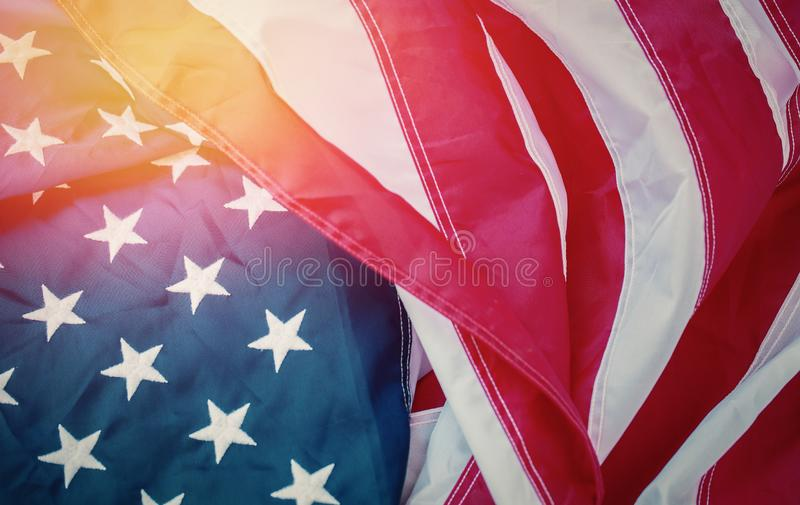 Antique America flag waving pattern background in red blue white color concept for USA 4th july independence day, symbol of. Patriot freedom and democracy royalty free stock photography