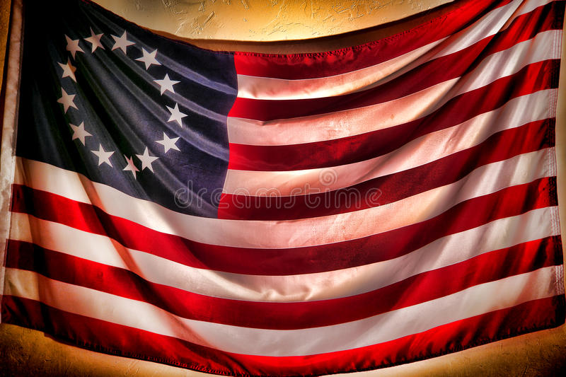 Antique American Betsy Ross Stars and Stripes Flag stock photo