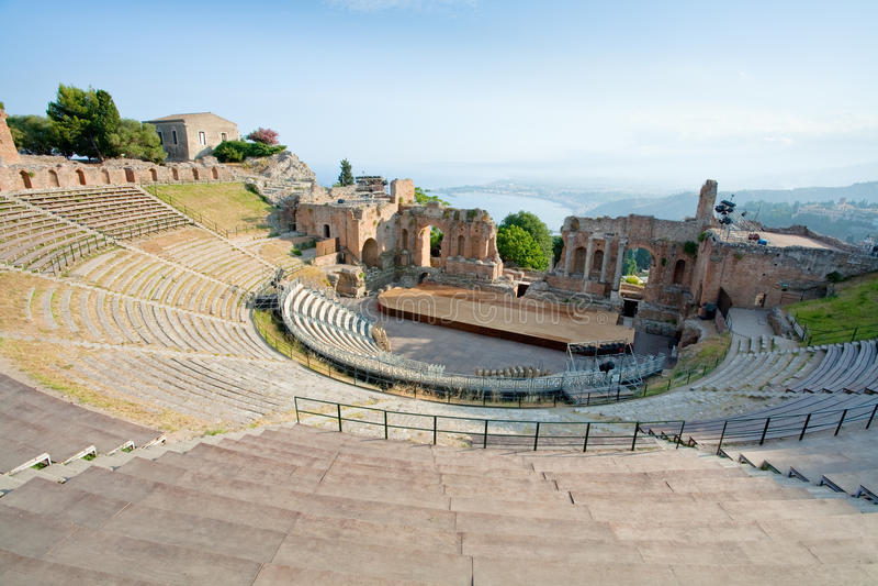 Antique Amphitheater Teatro Greco, Taormina Stock Images