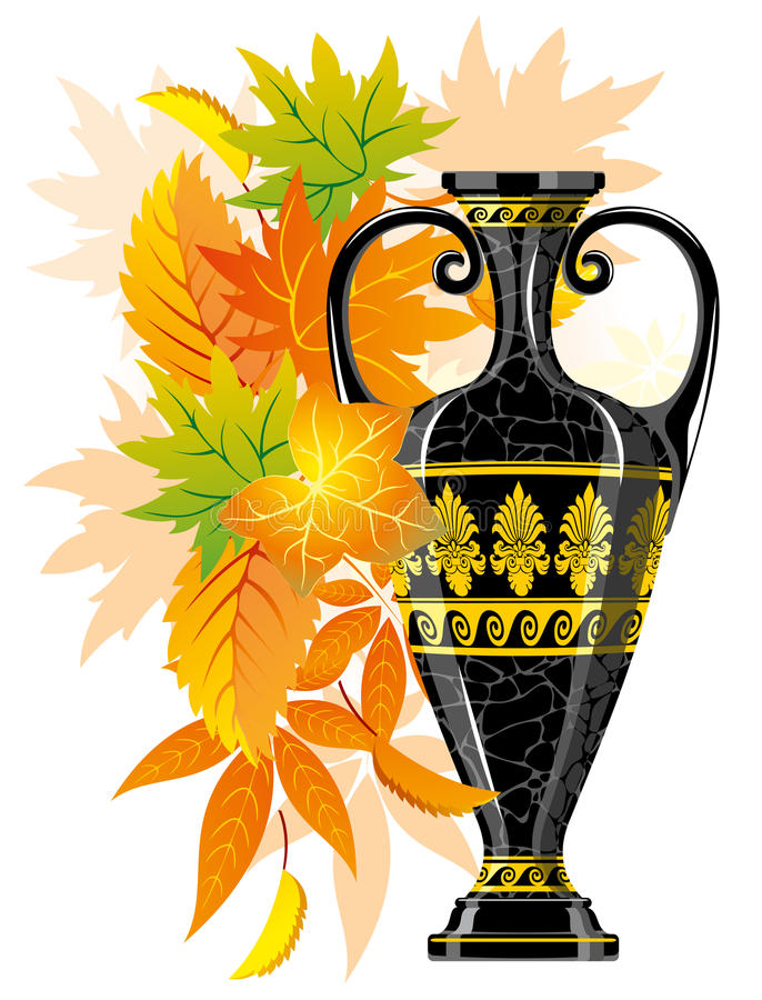 Antique amphora with autumn leaves royalty free illustration