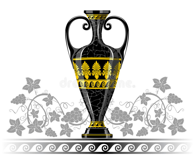 Antique amphora with grapes and leaf royalty free illustration