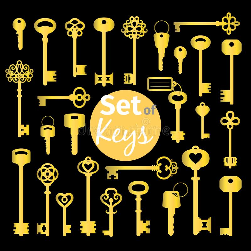 Free Antique And Modern Gold Keys Set Royalty Free Stock Photo - 99767755