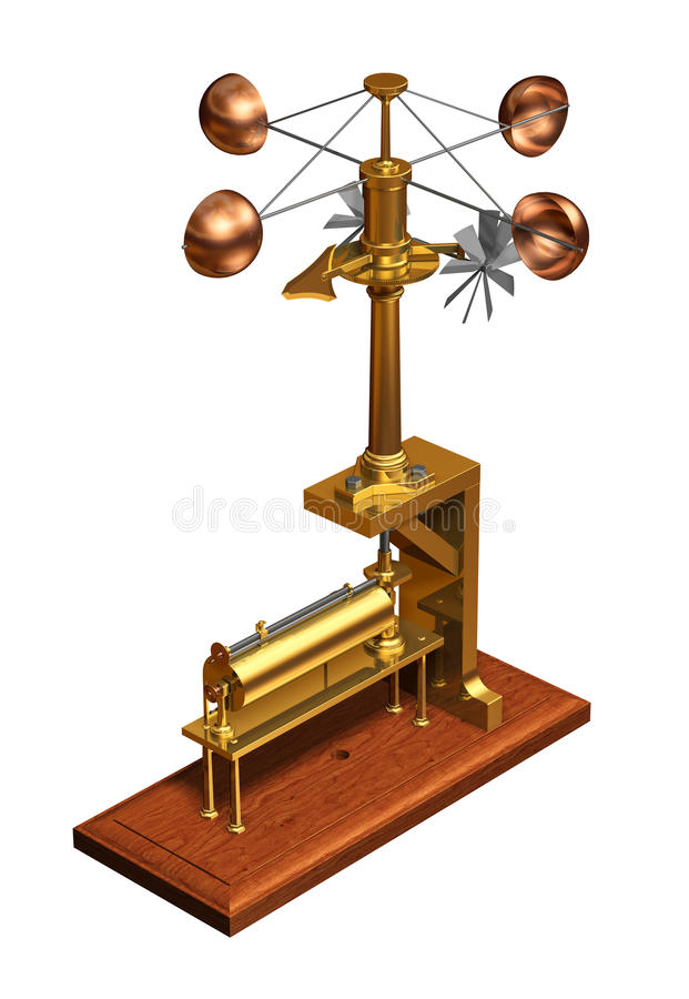 Antique Anemometer. Weather Station On White Background.. Antique Anemometer. Weather Station On White Background. 3D Illustration vector illustration