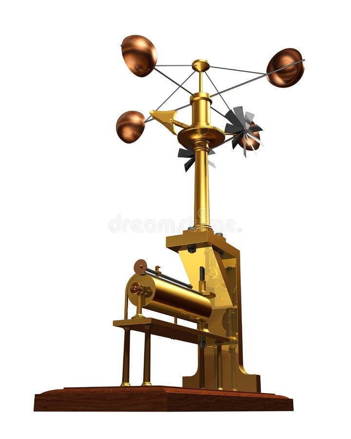 Antique Anemometer On White Background. 3D Illustration stock illustration