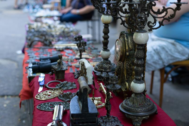 Antique antiques are sold at a flea market royalty free stock photo