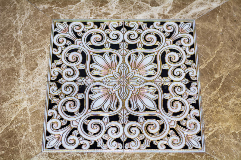Antique arabic floor tiles. A floor with mosaics with medieval decoration stock photos