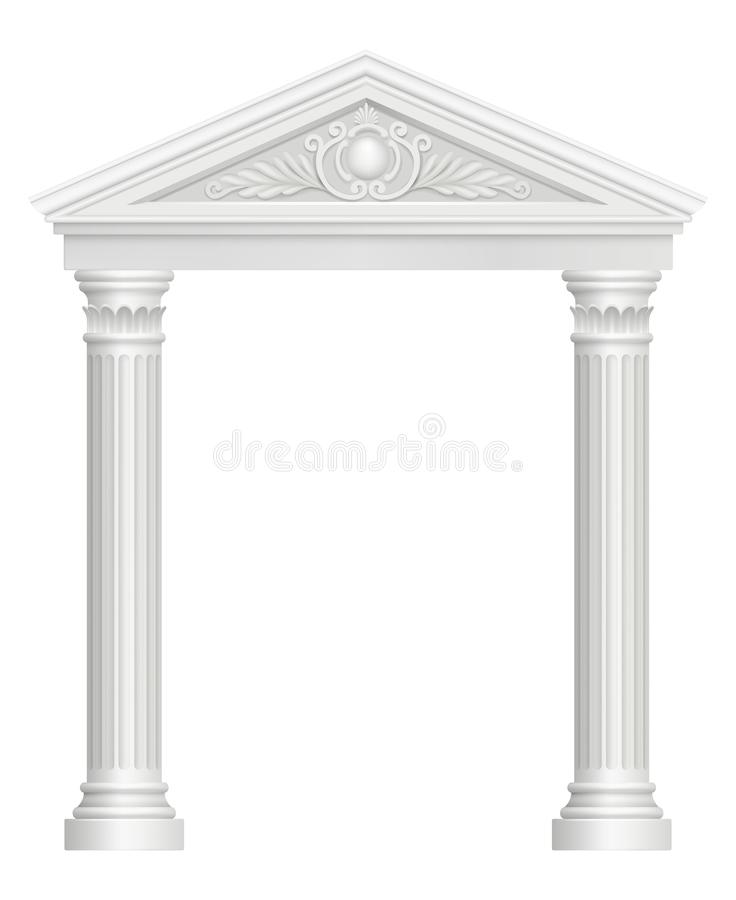 Antique arch. Colonnade palace entrance architectural baroque style vector realistic pictures. Archway architecture, classic pillar, colonnade and arch stock illustration