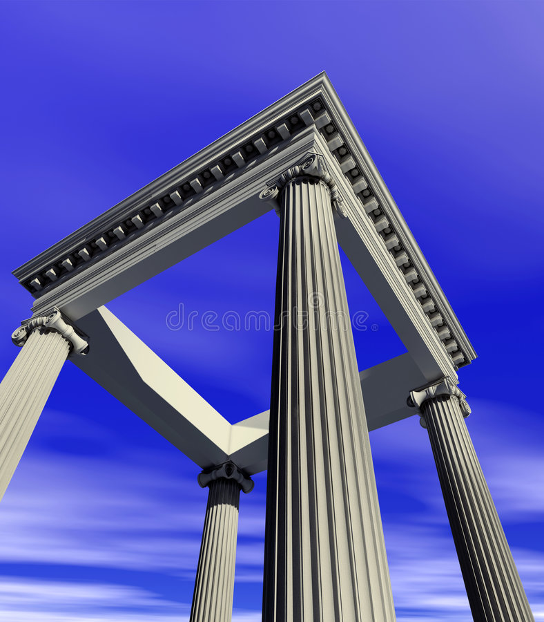 Antique architecture. Construction image (3d rendering royalty free stock photography