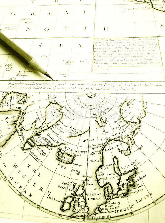 Antique arctic circle & North Pole map chart. Exotic far away travels and tourism theme - An image showing the study of the geography of North Pole - a brown stock image