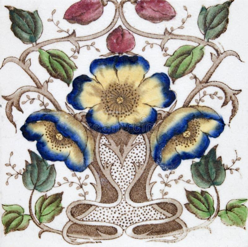 Antique Art Nouveau tile stock image