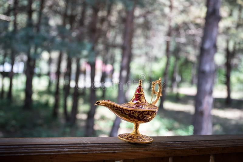 Antique artisanal Aladdin Arabian nights genie style oil lamp at the forest. Lamp of wishes fantasy concept. Selective focus royalty free stock images