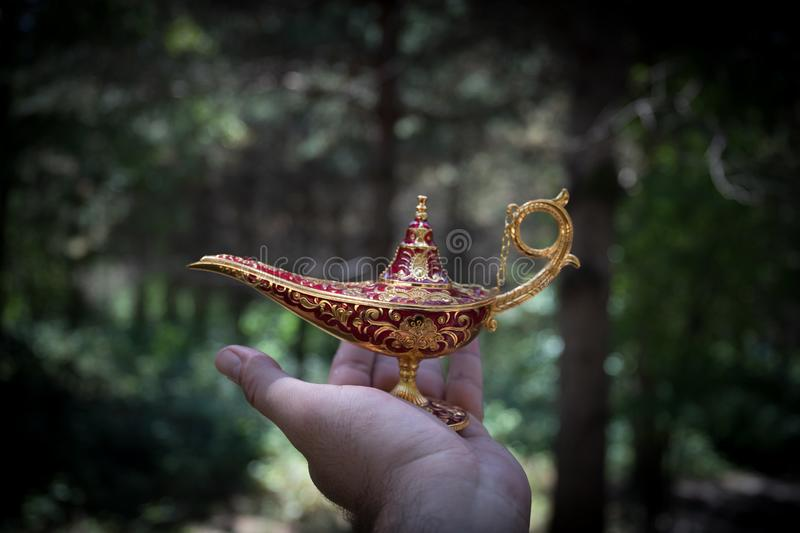 Antique artisanal Aladdin Arabian nights genie style oil lamp at the forest. Lamp of wishes fantasy concept. Selective focus stock photo