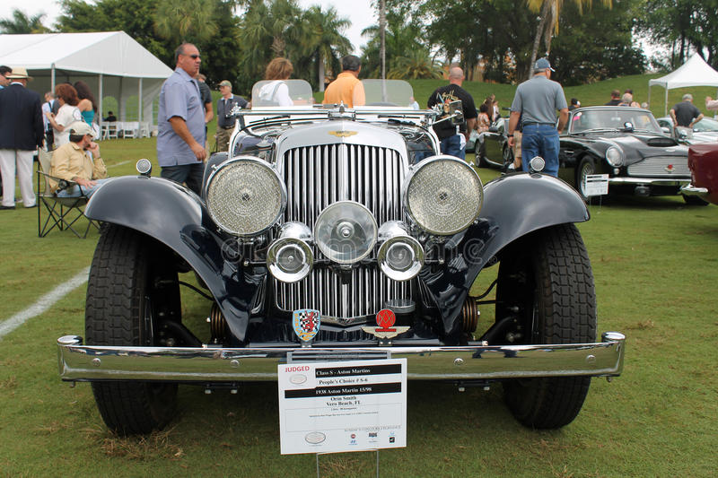 Antique aston martin roadster. Antique 1938 aston martin 15/98 roadster at outdoors event in south florida among other aston martin cars royalty free stock image