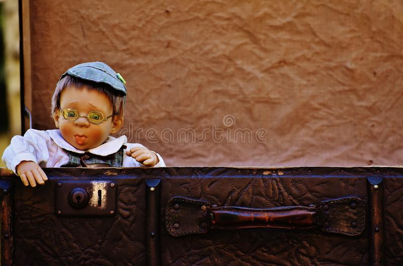 Antique baby boy with cap and spectacles stock images