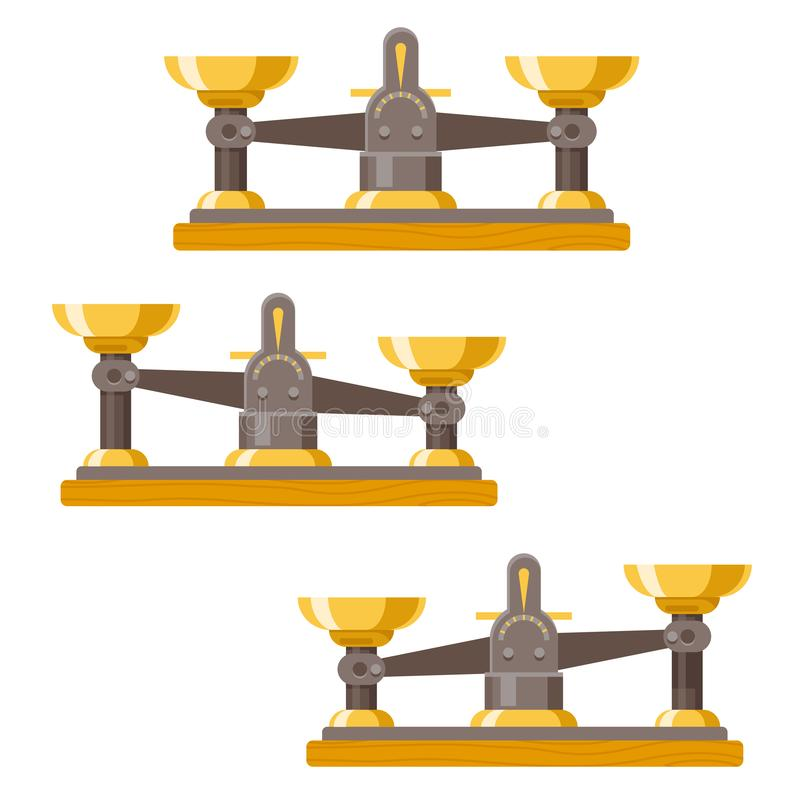 Antique balance scales weigher equality equal concept instrument measurement vintage retro flat design vector stock illustration