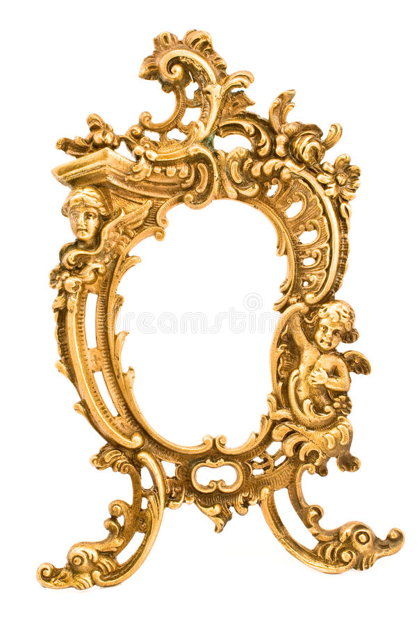 Antique baroque brass frame. Isolated on white royalty free stock photo