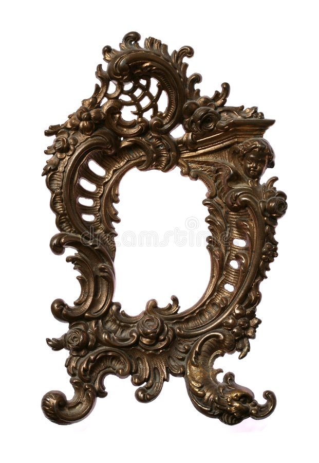 Antique Baroque Brass Frame stock photography