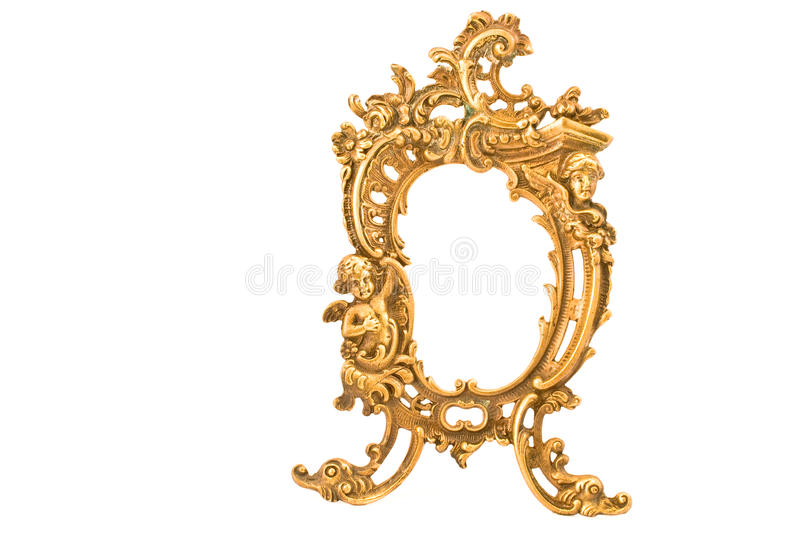 Antique baroque brass frame. Isolated on white royalty free stock photography