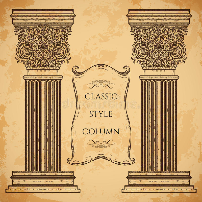 Antique and baroque classic style column and ribbon banner vector set. Vintage architectural details design elements vector illustration