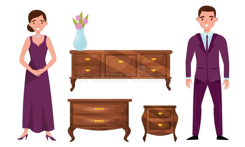 Antique Baroque Furniture Collection, Vintage Interior Details e Family Couple in Elegant Clothes Vector Illustrazione illustrazione di stock