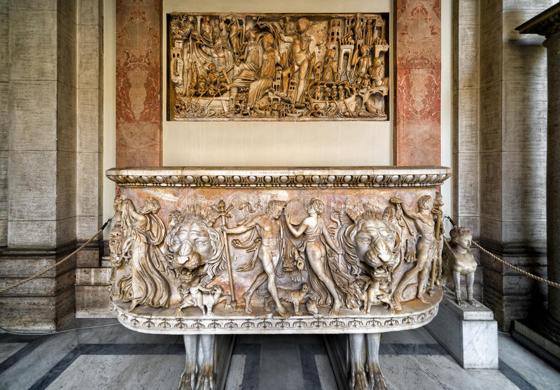 Antique bath in the Vatican Museum in Rome stock image