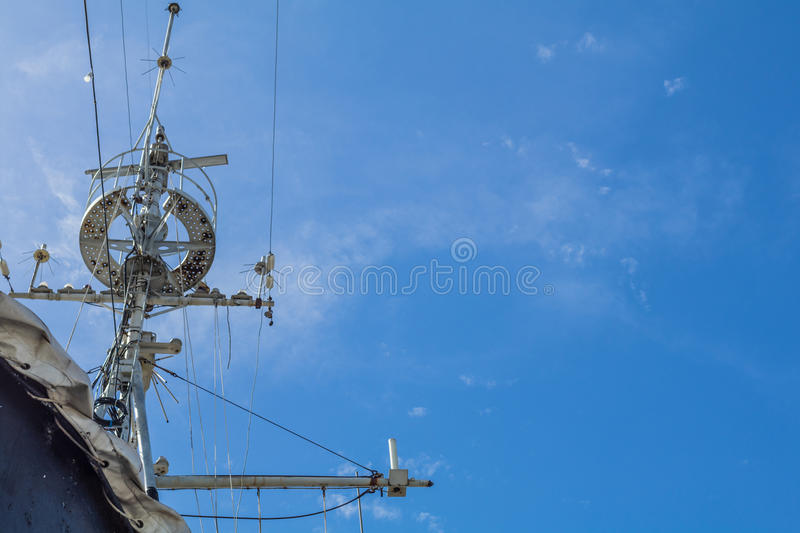 Antique battle ship communication tower.  royalty free stock photos