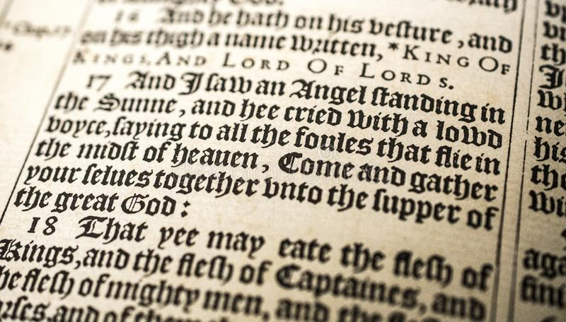 Antique Bible Manuscript, 1611 King James, Revelation 19. King James Authorized 1611 Pulpit Folio Bible open to Revelation chapter 19 verses 17 and 18. And I saw stock photo
