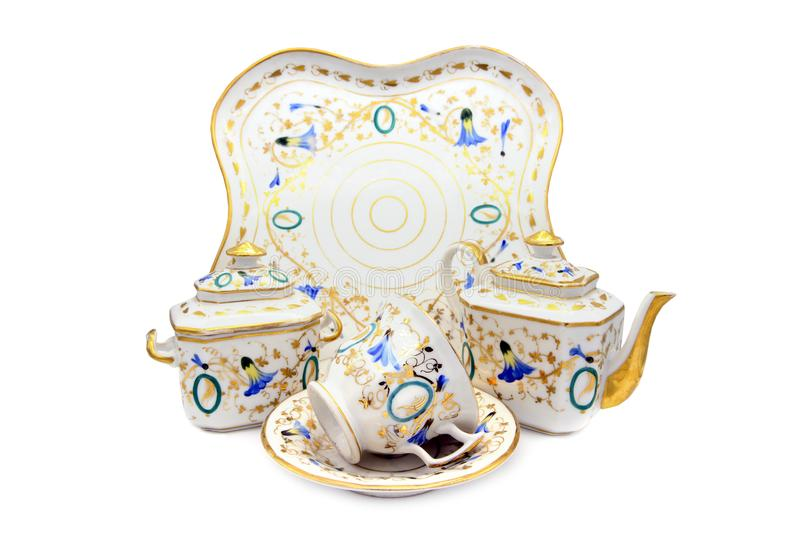 Antique Biedermeider coffee set with plat, cup and pot stock photo