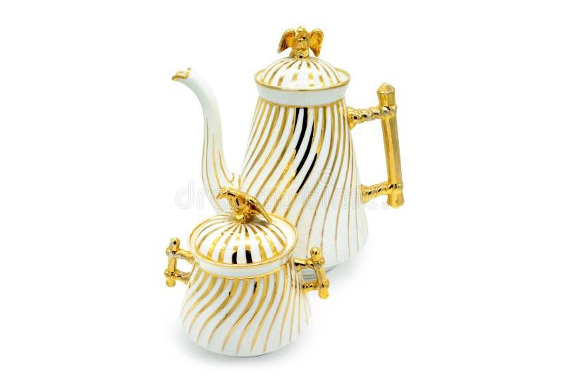 Antique Biedermeier Time porcelain set of coffee pot and sugar b stock images