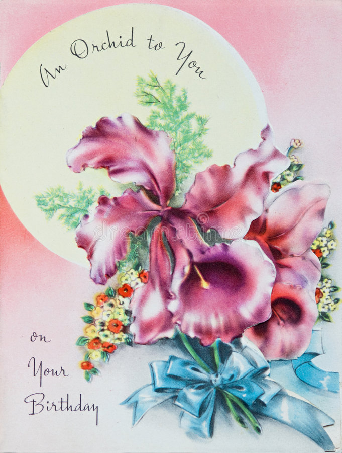 Antique Birthday Card. With greeting and purple and pink orchids royalty free stock photography