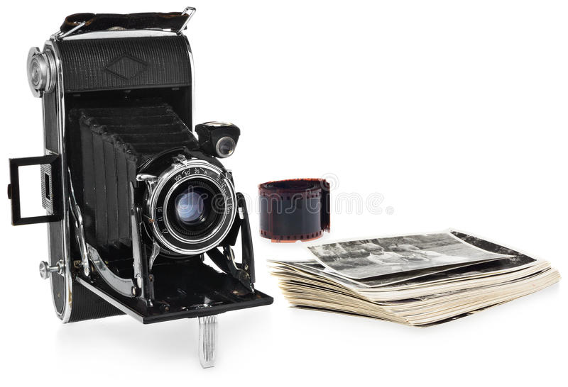 Antique, black, pocket camera, retro black and white photographs, historic negative for the camera. stock photo