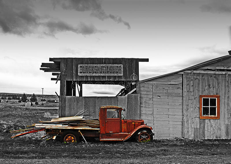 Antique Blacksmith Shop and Truck HDR royalty free stock photography