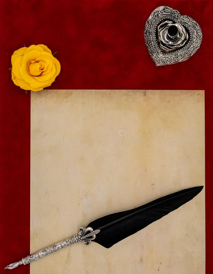 Vintage blank preachment, yellow rose head, ornate silver quill stand ornamented quill - Love letter concept. Antique blank preachment with yellow rose, detailed royalty free stock images