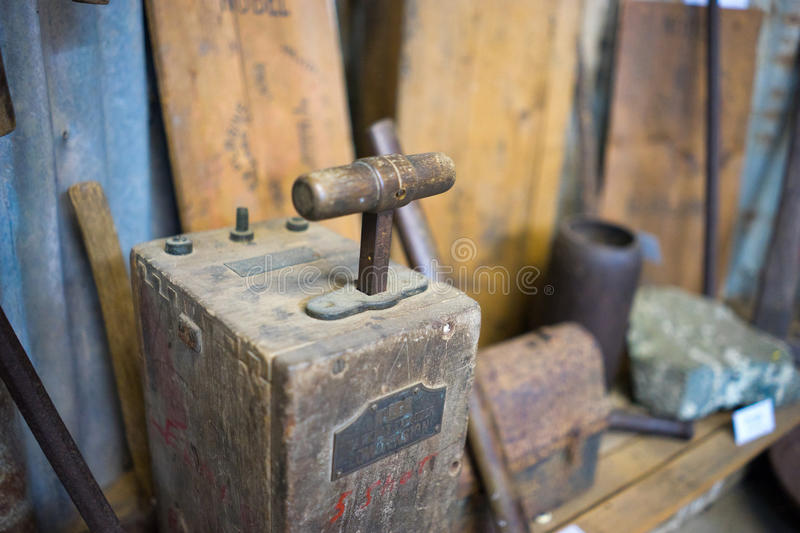 Antique Blasting Machine. A closeup view of an antique or retro mining blasting machine or plunger box or shot exploder. This was used during the early mining stock photography