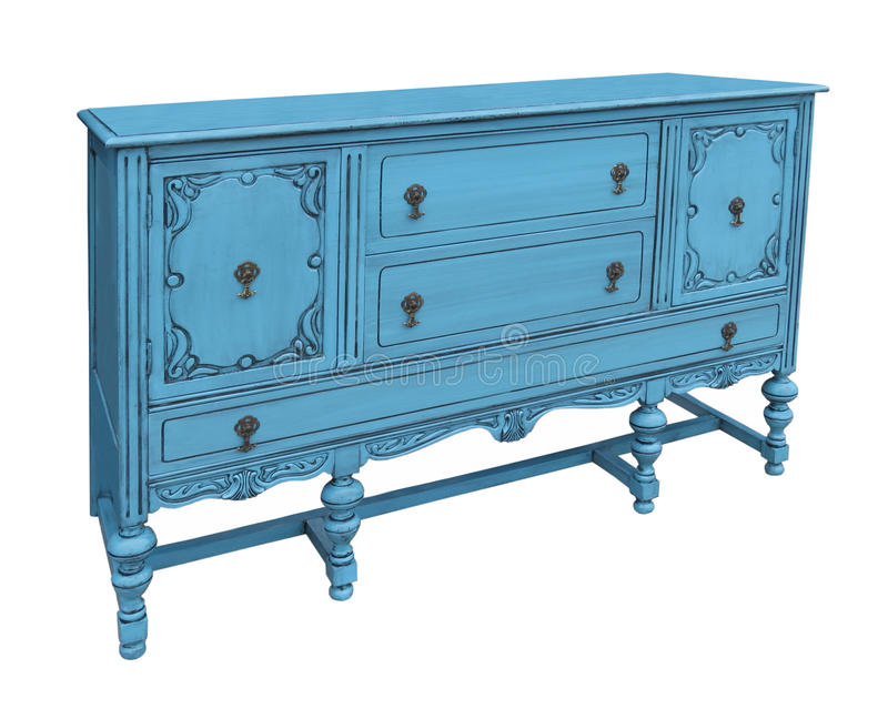 Antique blue buffet isolated. Antique blue wooden buffet with drawers and drawers. Isolated on white royalty free stock photos