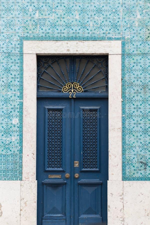 Antique blue front door royalty free stock photos