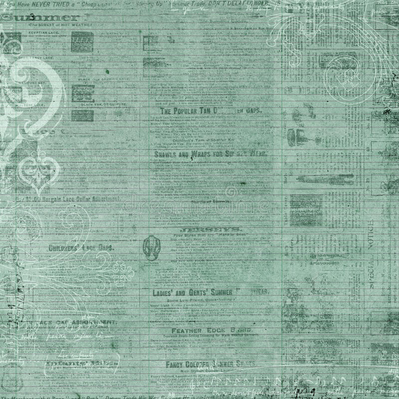Antique blue green newspaper Text Background. Antique newspaper text background for scrapbooking and design, 12x12 inches in size royalty free illustration