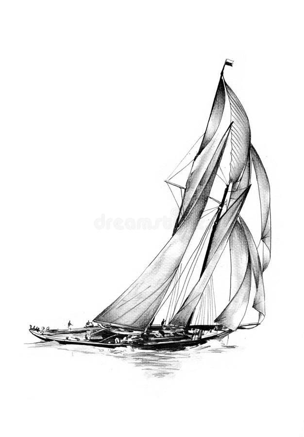 Vintage Sailboat Sketch Antique Boat Se...