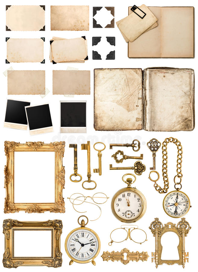 Antique book, aged paper, golden keys. Collection of vintage obj. Antique book, aged paper card with corners, tapes and frames, photo cardboard, golden keys royalty free stock photography