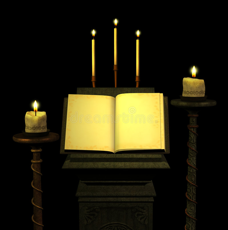 Antique Book with Candles 1 stock illustration