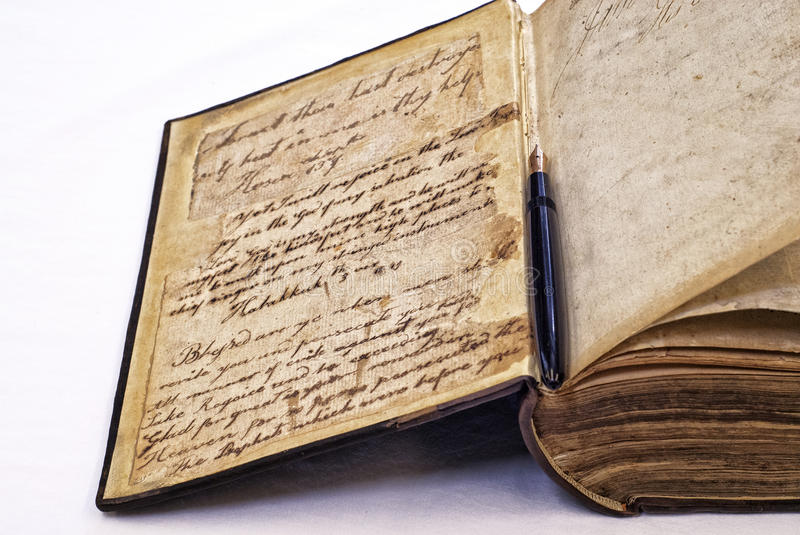 Old Book Inside Cover ~ Antique book and fountain pen stock image
