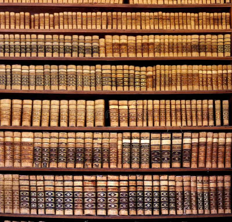 Antique book racks in an old library. Old books in the Ped Acar library in Eger, Hungary royalty free stock photography