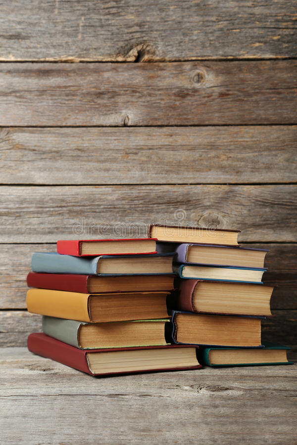 Antique books. Old antique books on grey wooden table stock photography