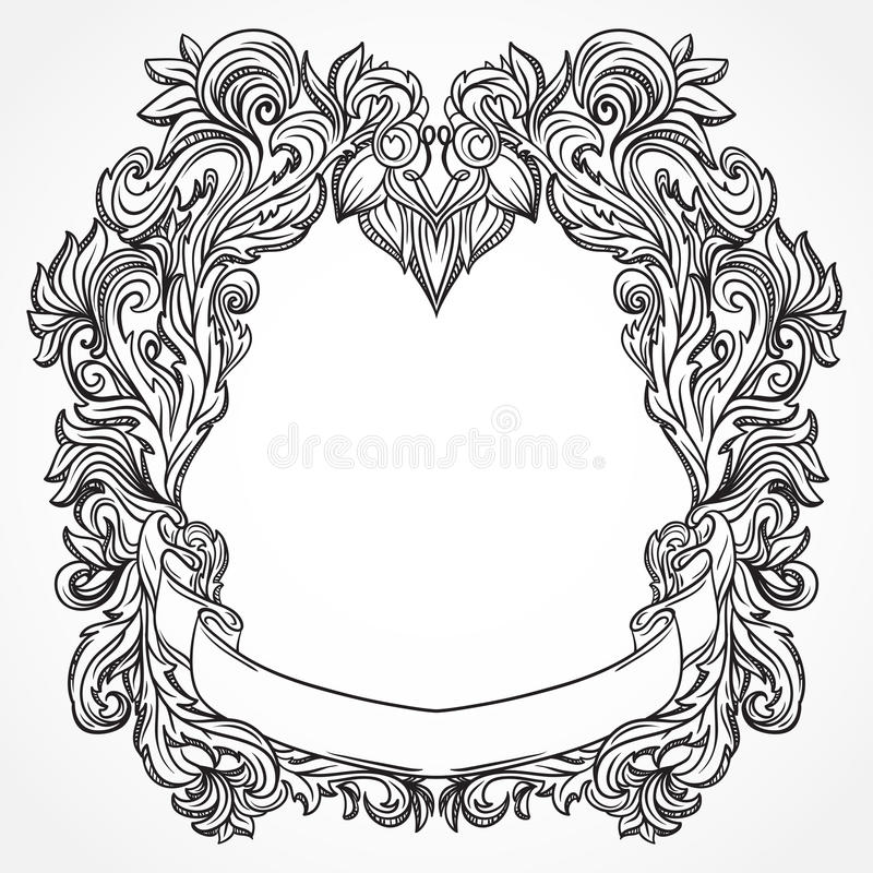 Antique border frame engraving with retro ornament pattern. Vintage design decorative element in baroque style. royalty free illustration